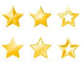 Set of shiny star icons — Stock Vector
