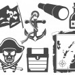 Pirate black and white icon set — Stock Vector