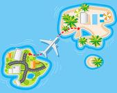 Flight to sea resort — Stock Vector