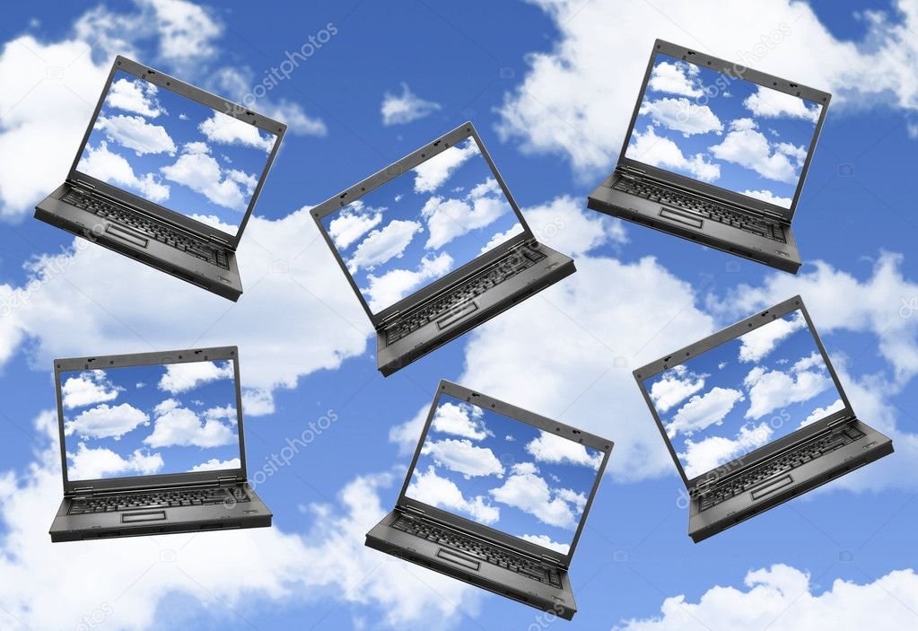 Cloud computing concept with laptops in the sky — Stock Photo #5175862