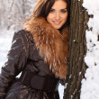 Beautiful girl in the park in winter — Stock Photo