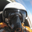 Stock Photo: Military pilot in plane