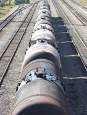 The train transports oil in tanks . — Stock Photo