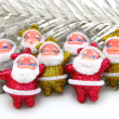 Stock Photo: Some dolls of Santa Claus are together