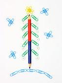 Paper clip Christmas tree — Stock Photo