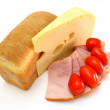Cheese with a meat and tomatoes - Stok fotoğraf