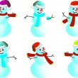 Cartoon snowman Caps for Santy - vector - Stock Vector