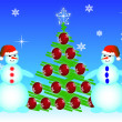 Two snowmen a vector - Stock Vector