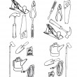 Collection vector of contours of various tools - Stock Vector