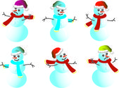Cartoon snowman Caps for Santy - vector — Stock Vector