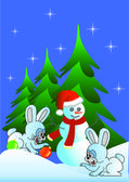 Hare and snowman (vector version) — Stock Vector