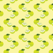 Seamless pattern with apples on the green background. — ストック写真