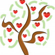 Vector apple tree with red fruits in the form of heart — Stock Photo