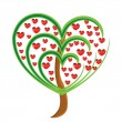 Stock Photo: Vector apple tree with red fruits in the form of heart