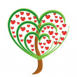 Vector apple tree with red fruits in the form of heart — Stock Photo #4507249