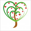 Stock Photo: Vector apple tree with red fruits in form of heart