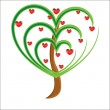 Vector apple tree with red fruits in the form of heart — Stock Photo #4507250