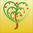 Vector apple tree with red fruits in the form of heart — Stock Photo #4507251