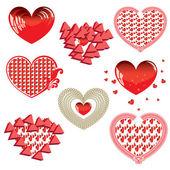 Vektor uppsättning röda hjärtan — Stockfoto