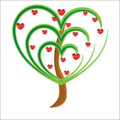 Macieira de vetor com frutos vermelhos em forma de coração — Foto Stock