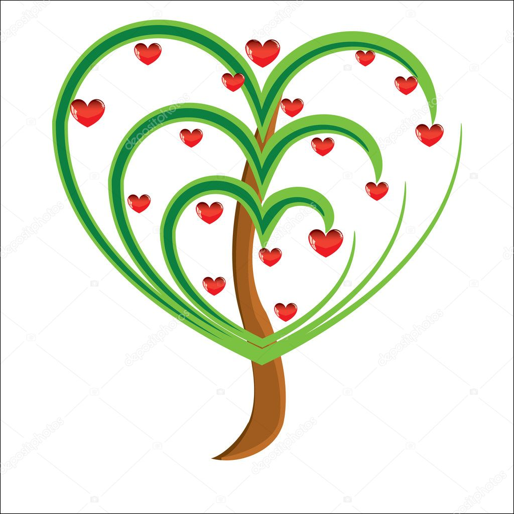 Vector apple tree with red fruits in the form of heart illustration Valentines — Stock Photo #4507250