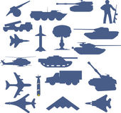 Set of planes of tanks of guns and military technology — Stock Photo