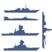 Dört gemi silueti koleksiyonu ile çizim — Stok fotoğraf