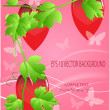 Photo: Valentines ornament with red love heart vector illustration