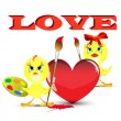 Two chickens on the Valentine&#039;s day paint heart - 