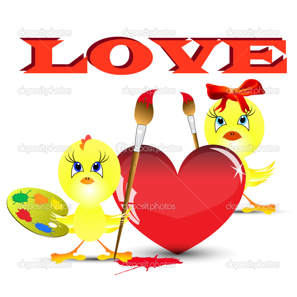 Two chickens on the Valentine's day paint heart — Stock Photo #4599840