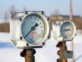 Gas pipeline and manometer gas. — Stock Photo