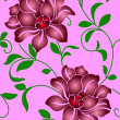 Seamless wallpaper  a seam with flower and leaves - Stock Photo