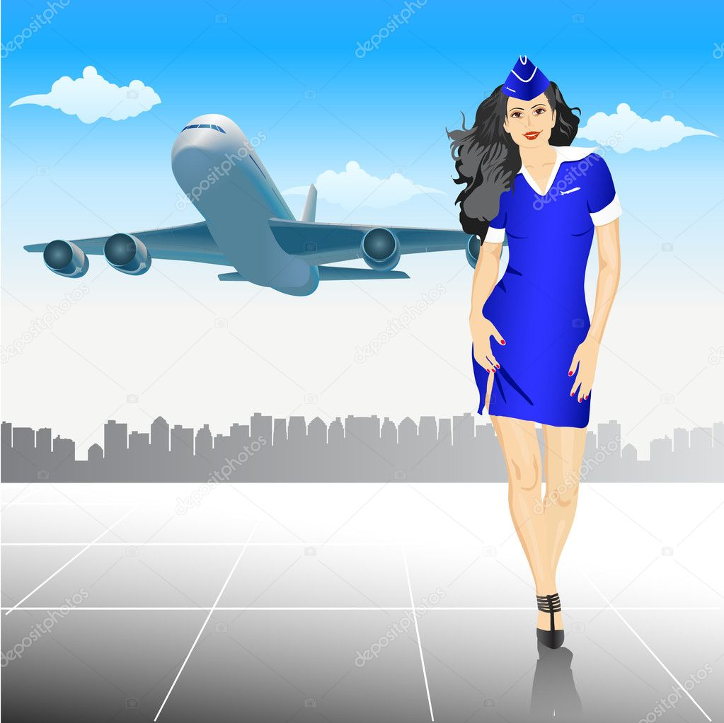 Beautiful Stewardess at the airport - vector illustration — Stock Photo #4923293