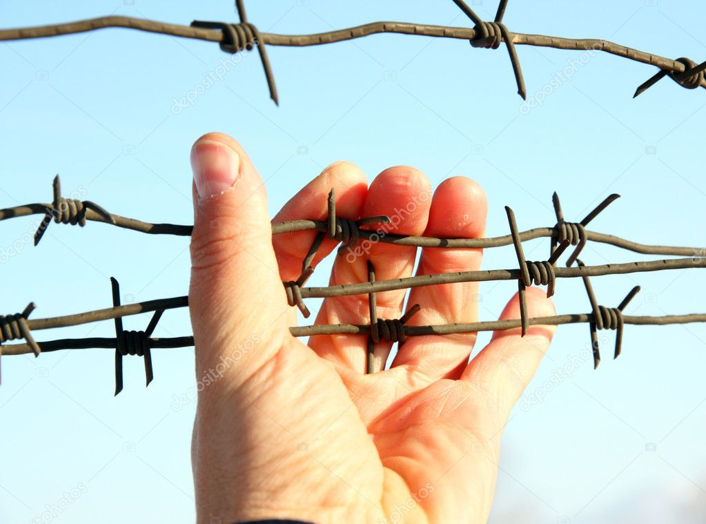 Hand of prison and sky background  Stock Photo #4923328