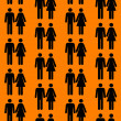 Seamless pattern with silhouettes of the person of different col - Stock Photo