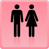 Vector Man & Woman icon over pink background — Stock Photo