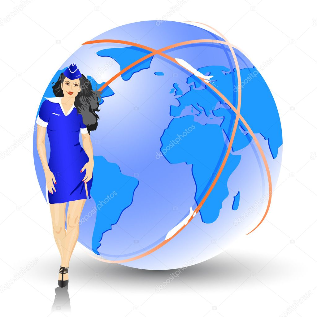 Beautiful Stewardess at the airport - vector illustration — Stock Photo #4990329