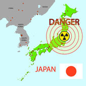 Japan map with danger on an atomic power station — Stock Photo