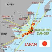 япония карта с опасностью на атомной электростанции — Стоковое фото
