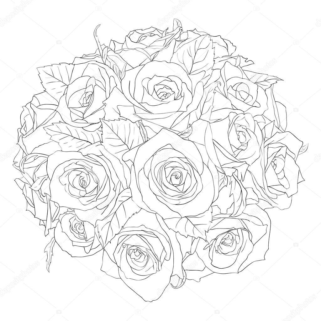 花艺设计元素和手绘矢量图