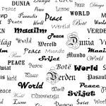 Мир. Бесшовные обои с слово мир в различных Ланг — Стоковое фото