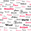 Stock Photo: Peace . Seamless wallpaper with the word peace in different lang