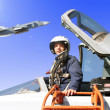 Stock Photo: The military pilot in the plane
