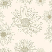 Hand drawn floral wallpaper with set of different flowers — Stock Photo