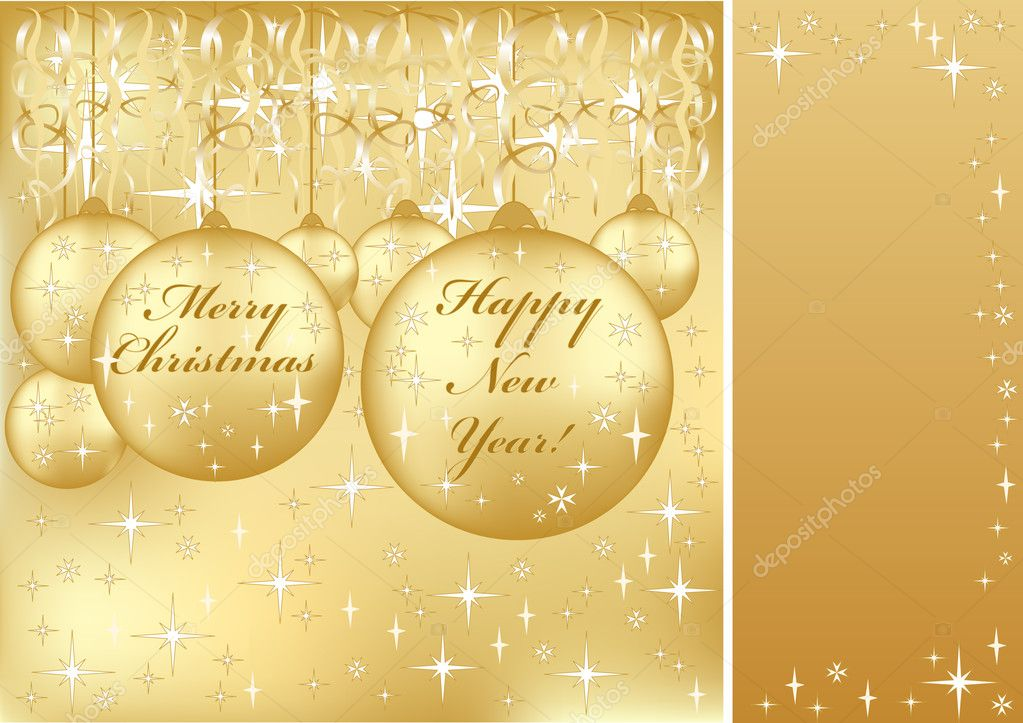 Beautiful beige frame on Merry Christmas and Happy New Year greeting — Stock Vector #4218474