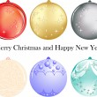 Set of six balls of different color as new year decoration — Stock Vector