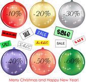 Set of six decorative balls with Christmas discounts — Stock Vector