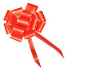 Red satin bow for wraping gifts — Stock Photo