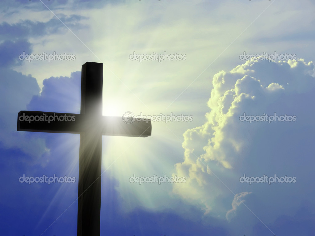 Cross silhouette against the blue sky — Stockfoto #4092858