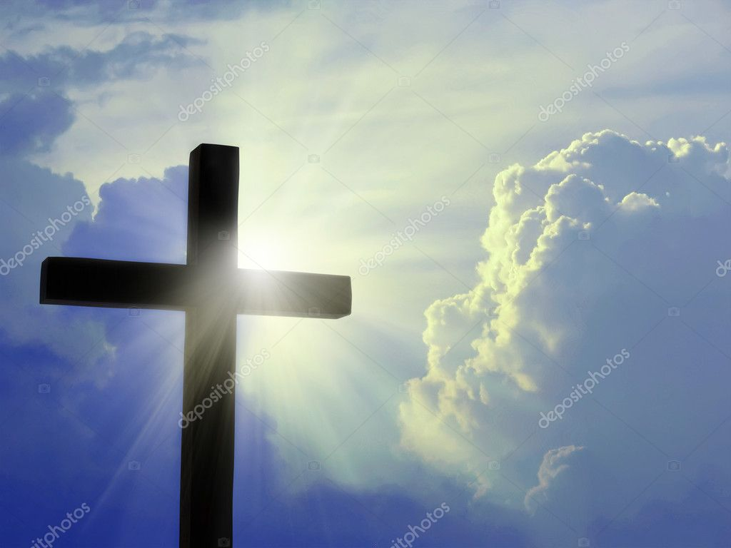 Cross silhouette against the blue sky — Stock Photo #4092858
